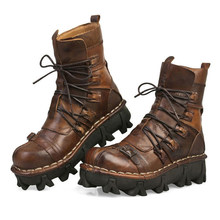 Winter Motorlaarzen Mannen Retro Echt Cow Leather Vintage Schedel Punk Casual Martin Boot Moto Motorbike Biker Beschermende Gear(China)