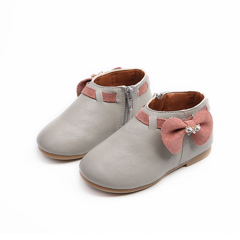 New 2020 Girls Kids Children Bow Leather Toddler Shoes For Baby Spring Autumn Pink Cartoon Princess Shoes 1 2 3 4 5 6 7 Years 26