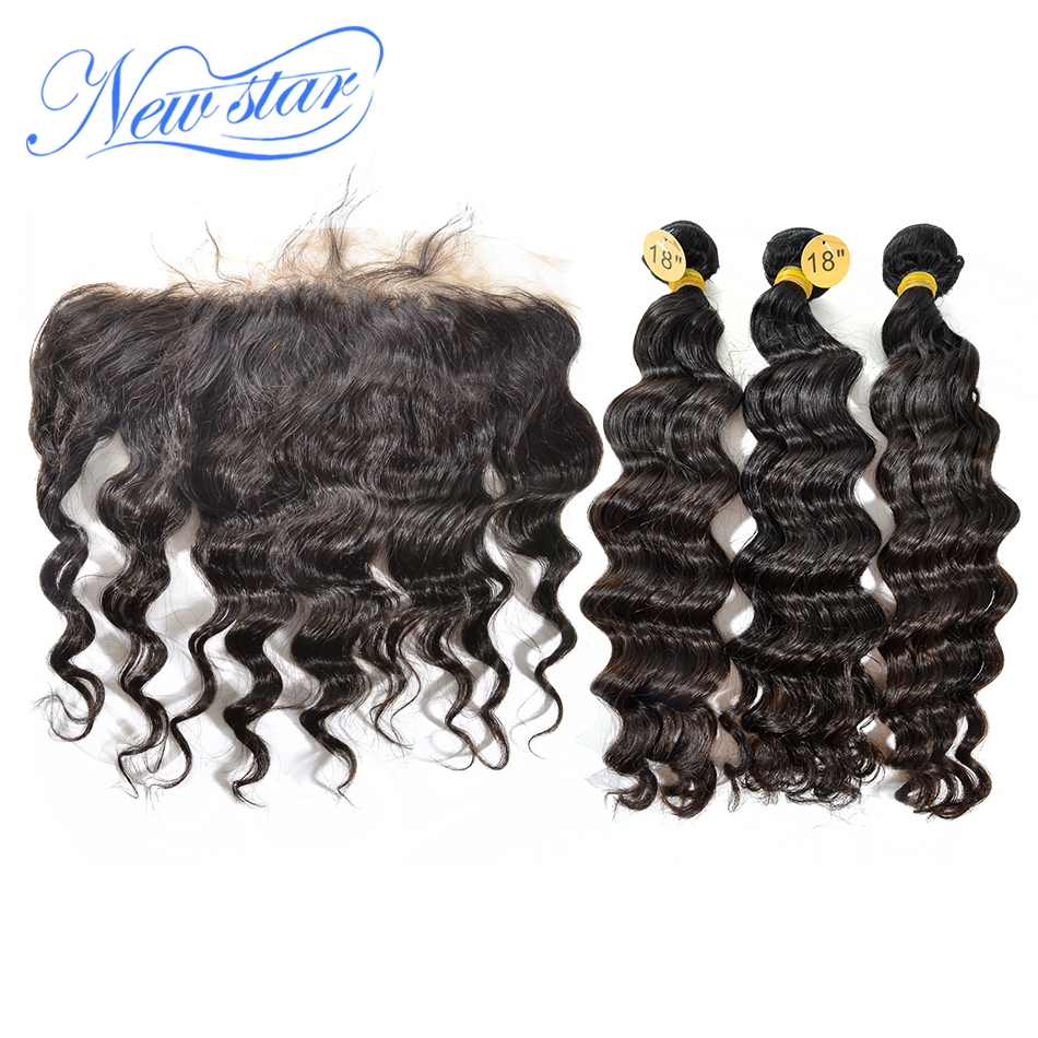 Brazilian Loose Deep Pre Plucked Lace Frontal Closure With 3 Bundles Virgin Human Hair Weave New Star Raw Hair Products Weaving