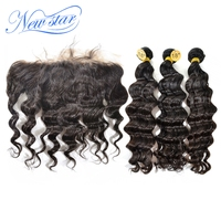 Brazilian Loose Deep Pre Plucked Lace Frontal Closure With 3 Bundles Virgin Human Hair Weave New