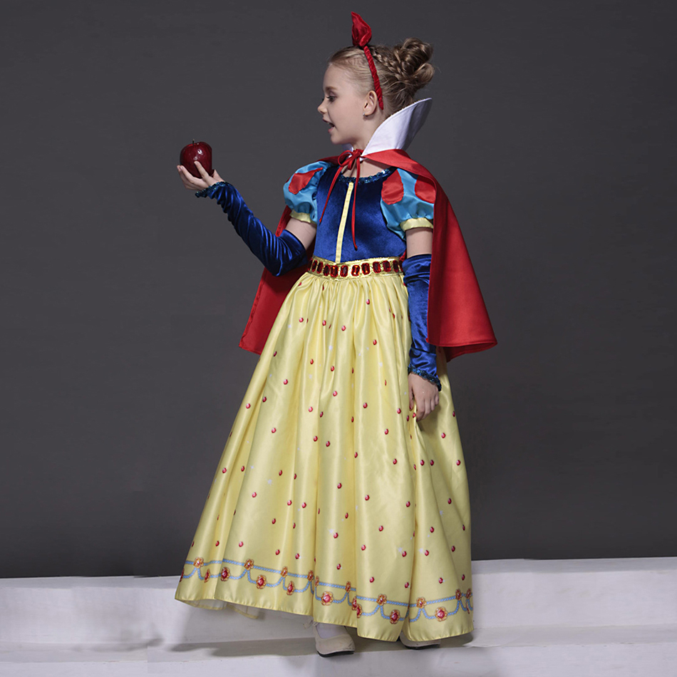 Robe blanche neige pour filles avec bandeau cape de luxe en velours brocart enfants fête de noël Cosplay Costume de princesse - 3