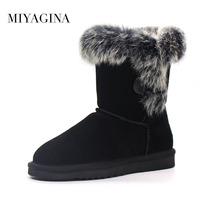 Hot Sale Women Genuine Leather Snow Boots 100 Natural Rabbit Fur Snow Boots Warm Wool Winter
