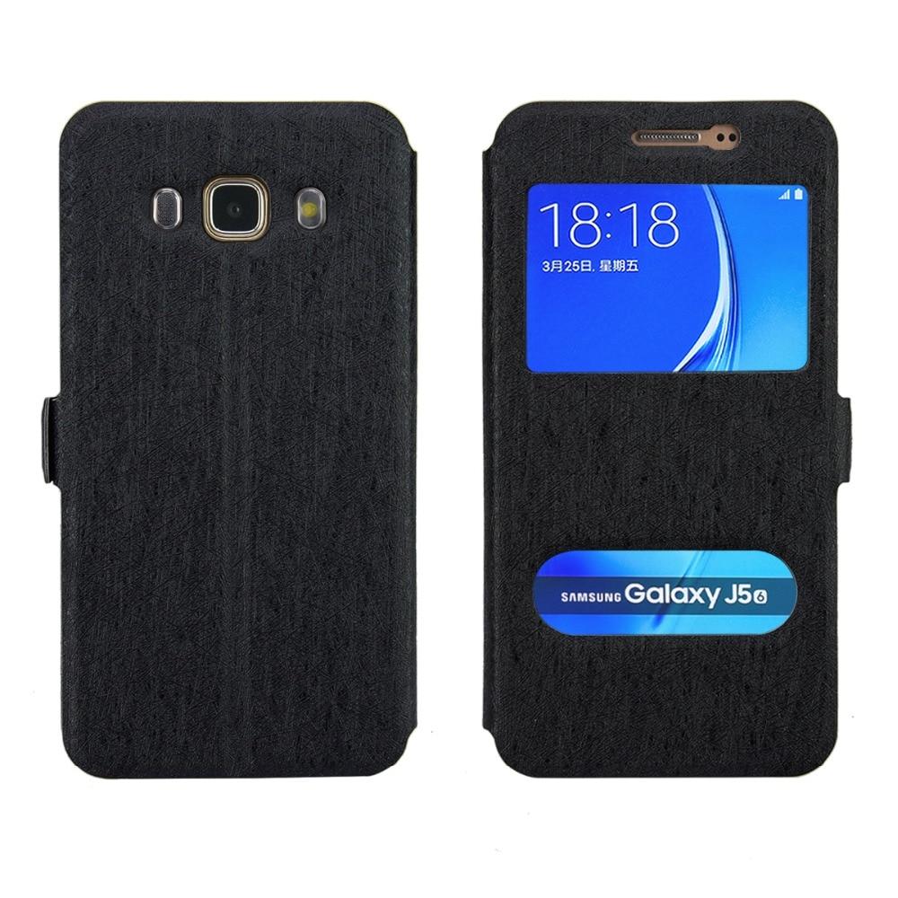 Livraison Gratuite Pour Samsung J5 2016 Dual Window View Flip Cover Case PU  En Cuir de Couverture Arrière Pour Samsung J510 (2016) cas 993538bfa82