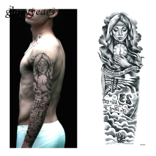 1 Piece Temporary Tattoo Sticker Nun Girl Pray Design Full Flower Arm Body Art Beckham Big Large Fake Tattoo Sticker QB-3031