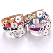 New Snap Button Jewelry Leather Strap style 18mm Buttons Bracelet for Women Children Stainless Steel Love Flower Charms