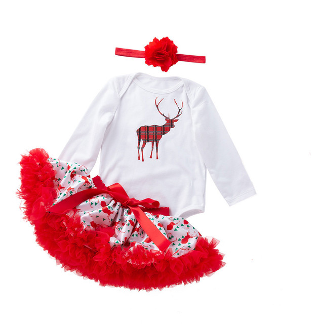 2019 Brand kids Clothes for girls Newborn Infant Baby Girls Christmas Romper+Tutu Skirt Jumpsuit Outfits Girls Clothing Sets