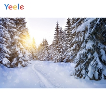 Yeele Winter Landscape Snow Pines Sunshine Painting Photography Backdrops Personalized Photographic Backgrounds For Photo Studio