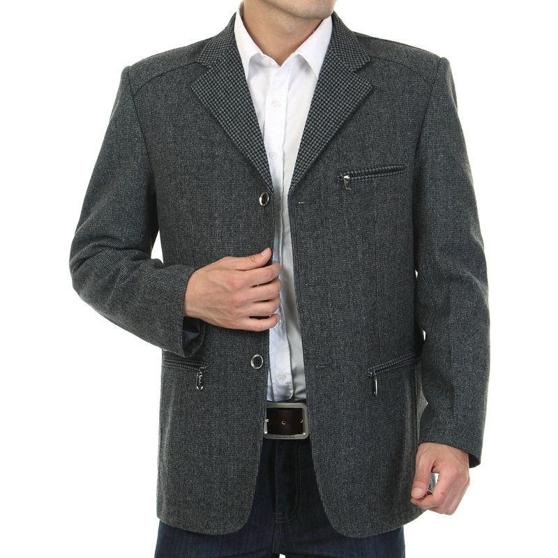 WAEOLSA Men Gray Blazers Fashion Tweed Blend Suit Jackets Man Casual Blazer Male Garment Chinese Apparel With Pockets