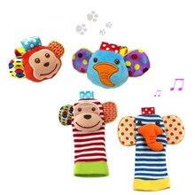 Baby Rattle Plush Sock Wrist Strap Toy Newborn Soft Cartoon Animal Foot Socks Infant Toys 0-12 Month baby rattle teether 35