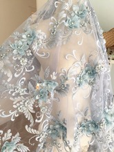 Lux 3D Pearl Beaded Blossom Floral Embroidery Lace Fabric in Smoke Blue by Yard , Haute Couture Bridal Wedding Gown Fabric