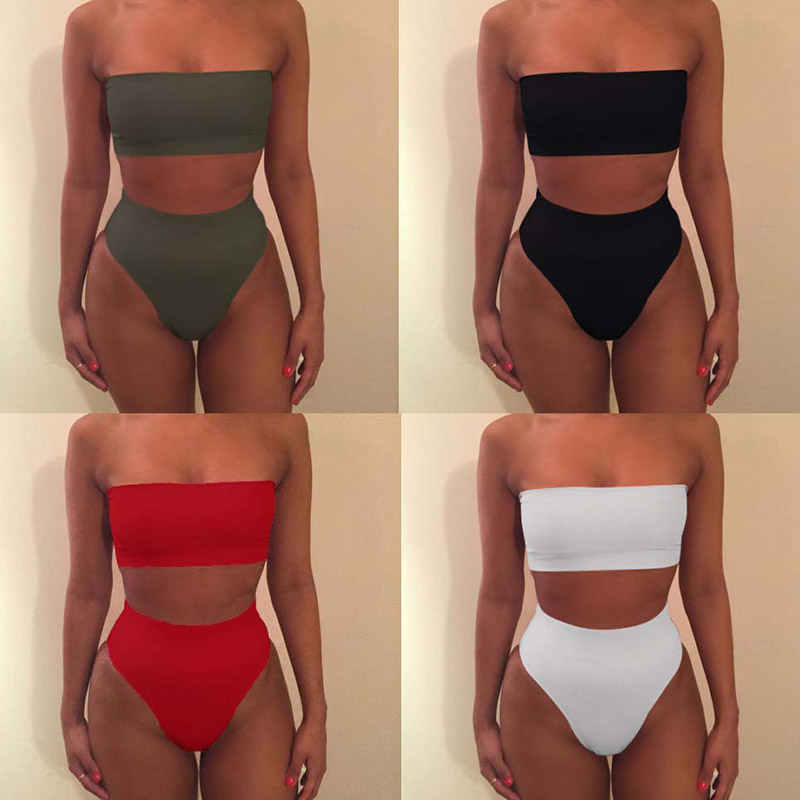 High Waist Swimsuit 2019 Sexy Bikini Women Brazilian Pad Swimwear Push Up Bandeau Top Plus Size Bottom Bikini Set Bathing Suits