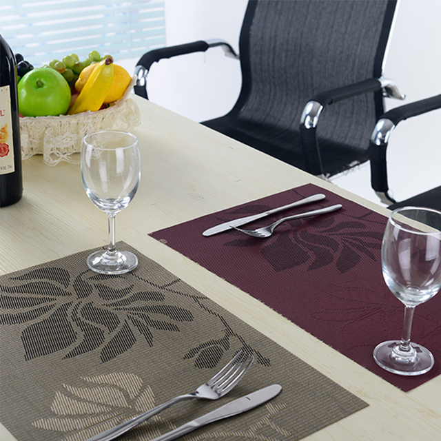 8pcslot pvc jacquard vinyl placemats for dining table runner linens place mat in kitchen
