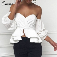 CWLSP 2017 Women Blouse Shirt Ruffles Puff Sleeve Sexy Slash Neck blusa Tops Off Shoulder feminina blusas mujer QL3057