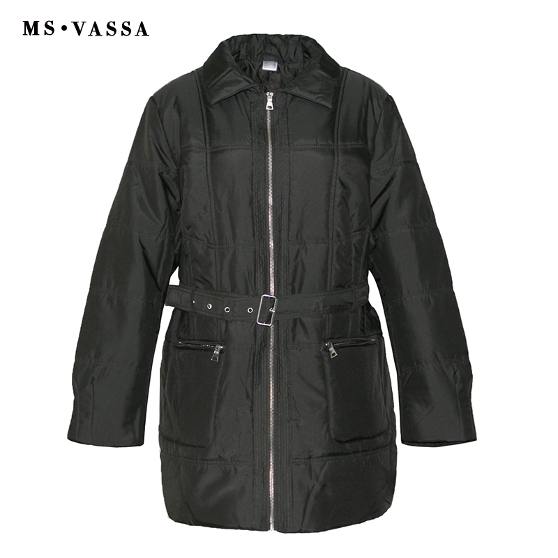 MS VASSA Women Parkas Autumn Winter 2017 new Ladies jacket with belt fashion coat lay down collar plus size 5XL 6XL outerwear