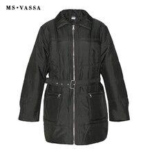 MS vassa mujeres Parkas Otoño Invierno 2017 nueva señoras chaqueta con cinturón moda abrigo yacía abajo collar más tamaño 5xl 6xl abrigo