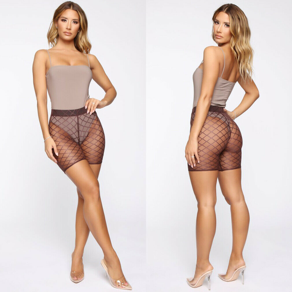 Womens Fishnet Sexy Mesh See Through Hollow Out High Waist Shorts Swimwear Beach Trousers