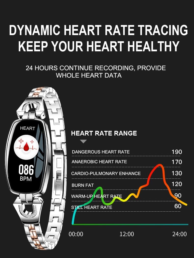 TISHRIC H8 Sport Women Ladies smart watch 2018 ios android waterproof gps whatsapp smartwatch heart rate