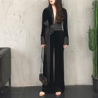 2018 Women Jumpsuit Long Slim Bodysuit With Bow Black Sexy Velvet Wide Leg Pants Overalls Streetwear Fashion Ladies Clothing