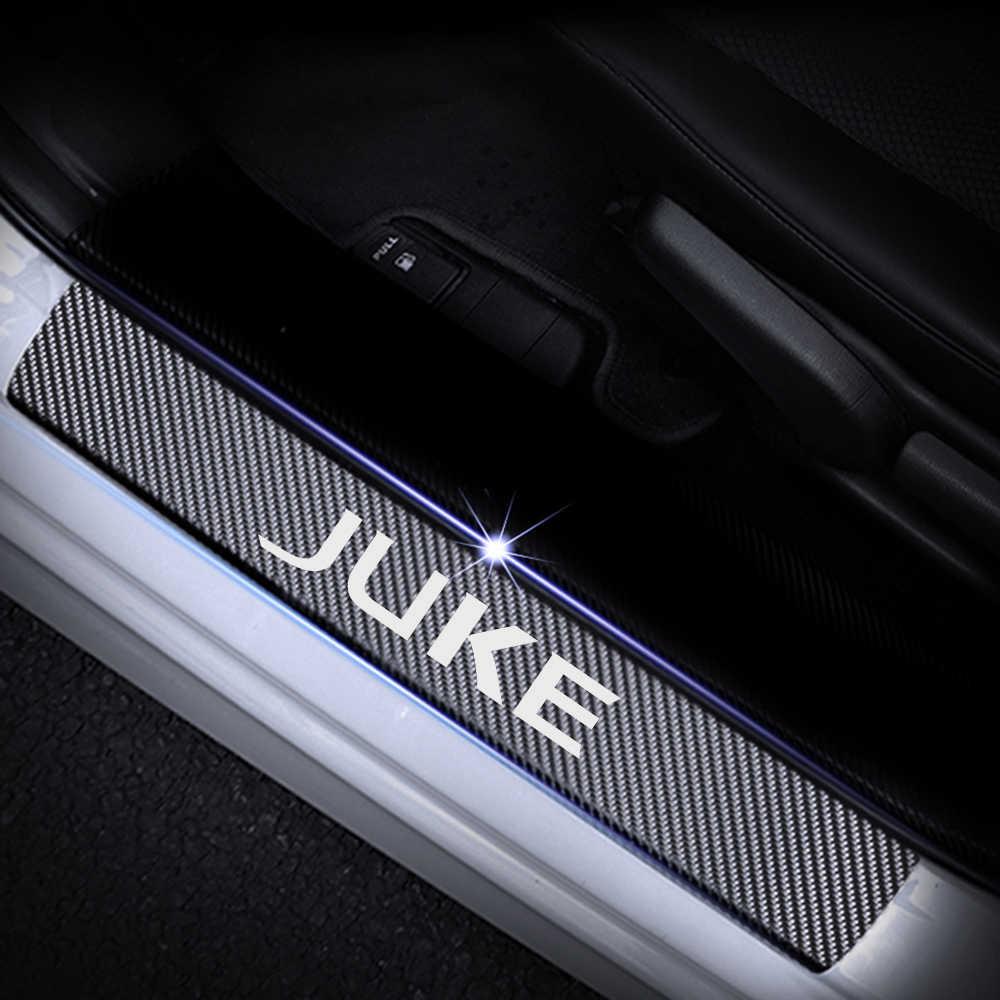 ZHEN Carbon Fibre Car Door Sill Protector for Nissan Juke Qashqai NISOM Car Door Sill Protector Sticker Car Scuff Pedal Cover Car Decorative Accessories Pack of 4