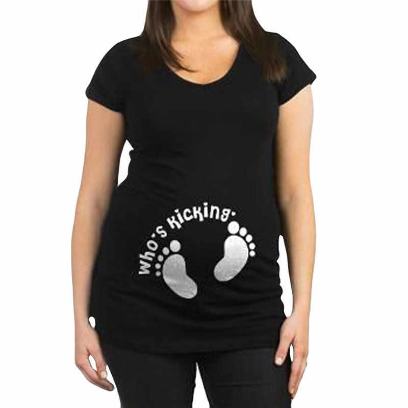بلوزة الأمومة الرياضية الطفل قادم الحمل بصمة إلكتروني طباعة قصيرة الأكمام بلايز الحمل قمصان روبا الأم دي مودا