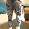 Kindstraum 2017 calças de brim para meninas marca de graffiti jeans hot itens frete grátis dos desenhos animados outono das crianças calças de brim meninas, rc621