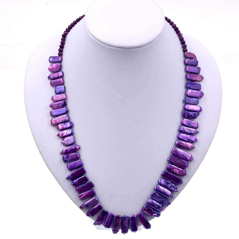 Fashion Women Chain Jewelry Purple Keshi Pearl Bead Strand Necklace 2018 Female Wedding & Engagement Jewelry