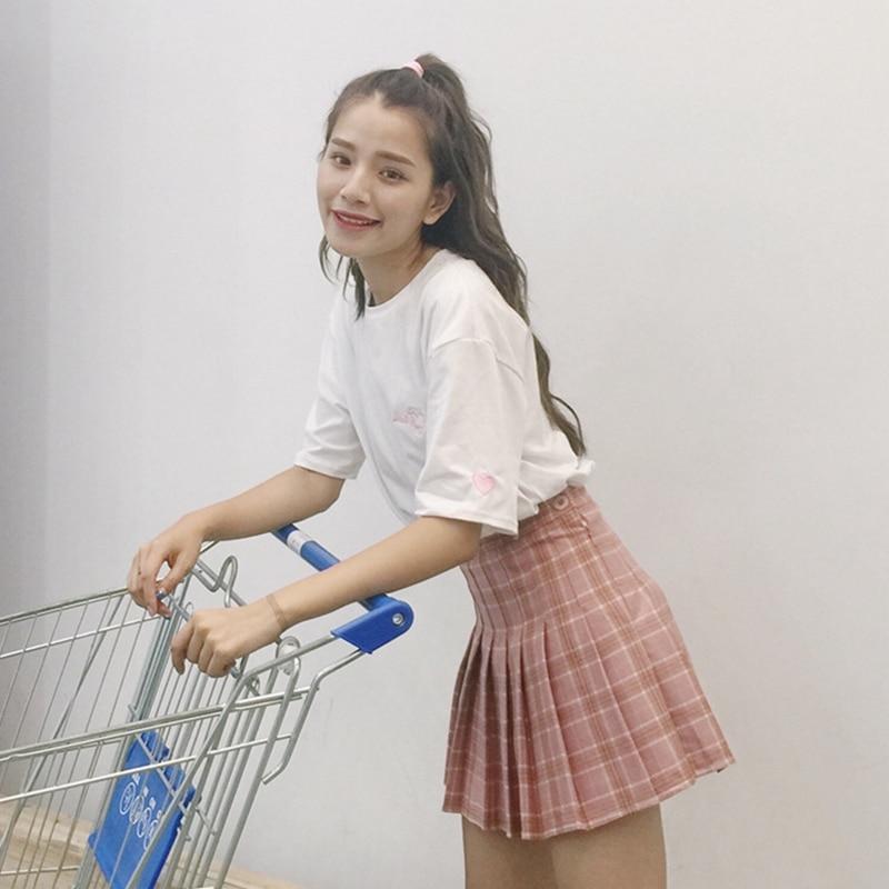 Women Pleat Skirt Harajuku Saia Faldas Preppy Style Plaid Skirts Mini Cute School Uniforms Ladies Jupe Kawaii Skirt Elasticity
