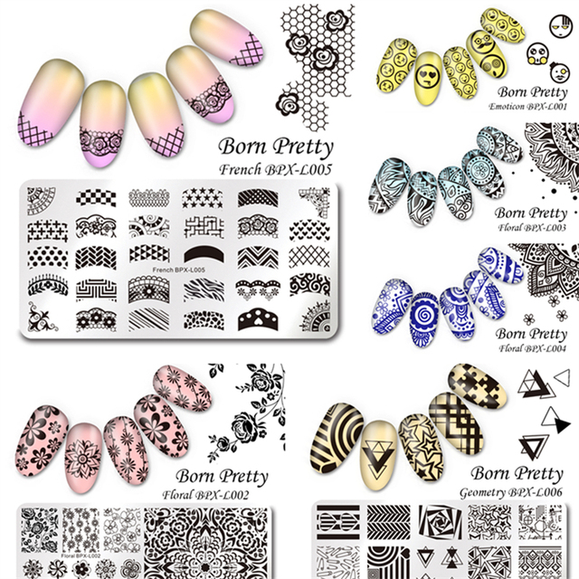 6Pcs/set BORN PRETTY 12*6cm Rectangle Nail Art Stamping Stamp Template Image Plates Nail Stamp Plate Manicure Tool BPX-L001~006