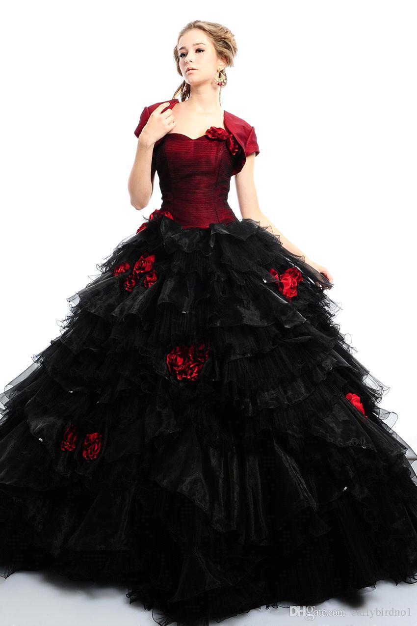 e960a8cf77c2 Preto e borgonha vestidos de noiva com jaqueta de dois tons Puffy vestido  de baile de Organza em camadas de vestidos de noiva em Vestidos De Casamento  de ...