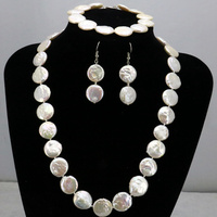 Coin forme Blanc perle collier set 11-12mm collier 18