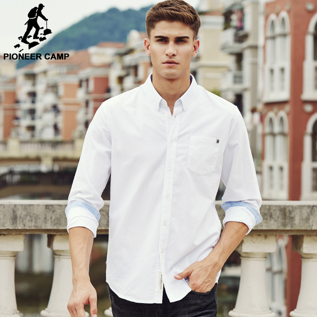 Pioneer Camp casual shirt men brand clothing 2018 new long sleeve slim fit solid male shirt quality 100% cotton white 666211