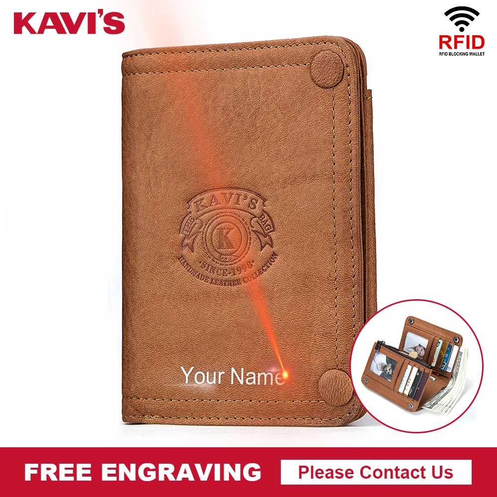 KAVIS 100% Genuine Leather Wallet Men Male Clutch Bag Coin Purse Walet Portomonee PORTFOLIO Clamp For Money Handy Card Holder