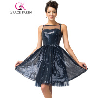 Grace Karin Cocktail Party Dress Sleeveless Navy Blue Robe De Cocktail Knee Length Short Sexy Sequin Special Occasion Prom Dress