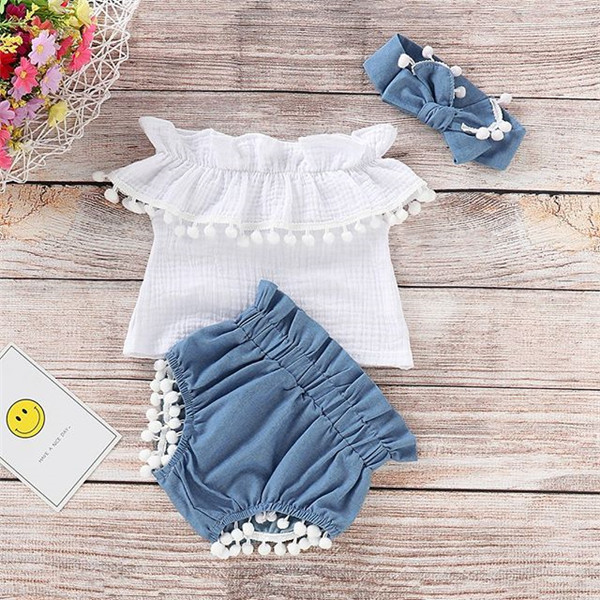 3 Pieces Off The Shoulder Ruffled Top, Denim Shorts With Headband Set For Baby Girl Clothes