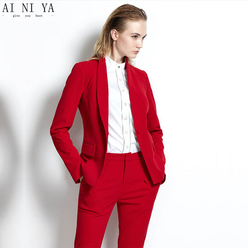 Red womens tuxedo 2 piece set women business suit female office uniform ladies trouser pant suits double breasted CUSTOM