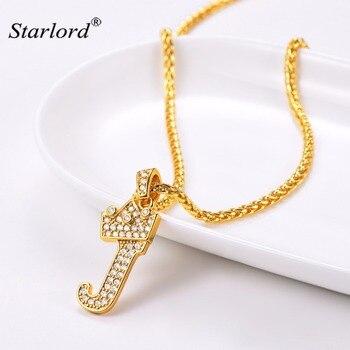 972dc2a3fe2a Corona letra J collar inicial 26 alfabeto regalo personalizado joyería  Cubic Zirconia letra encanto para las mujeres hombres P3452K