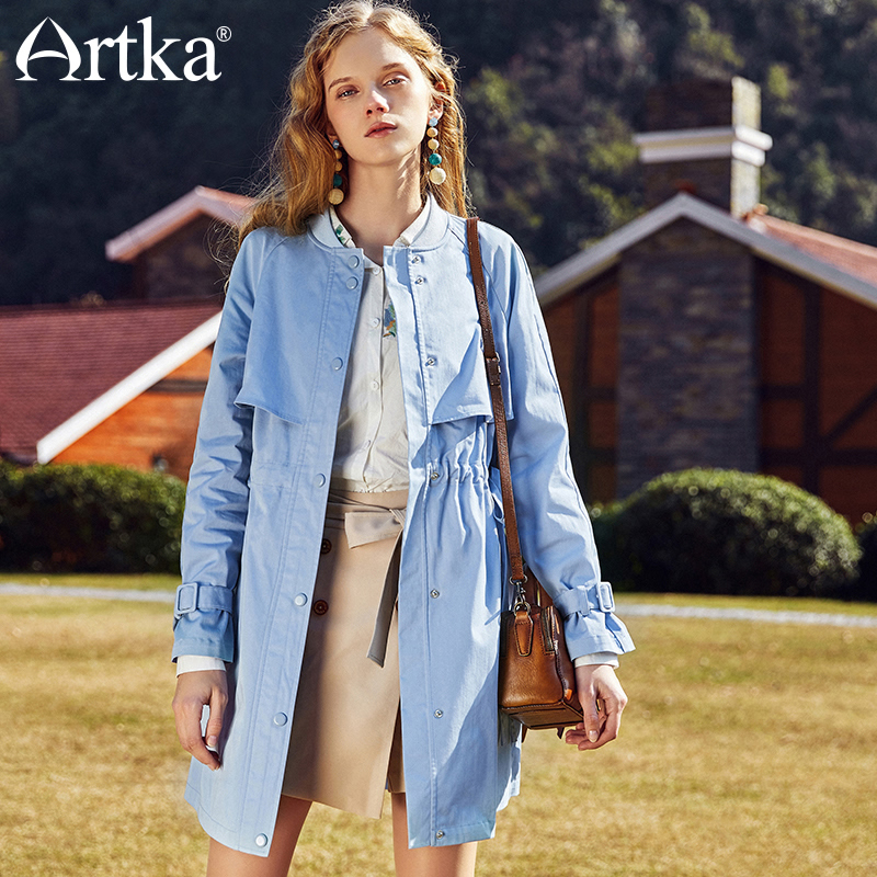 ARTKA New Spring Female Floral Embroidered Drawstring Slim Waist Long Trench Full Sleeve Single Breasted Coat