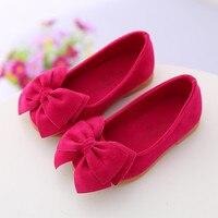 2017 primavera verão meninas bonitos sapatos de barco crianças sapatos grande arco doces sapatos de couro cor sólida rosa vermelha tênis amarelo