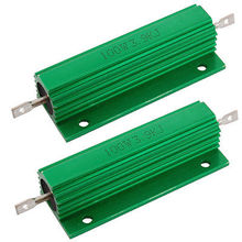 2 Pcs Green 100 Watt 3.9K Ohm 5% Aluminum Shell Wire Wound Resistors