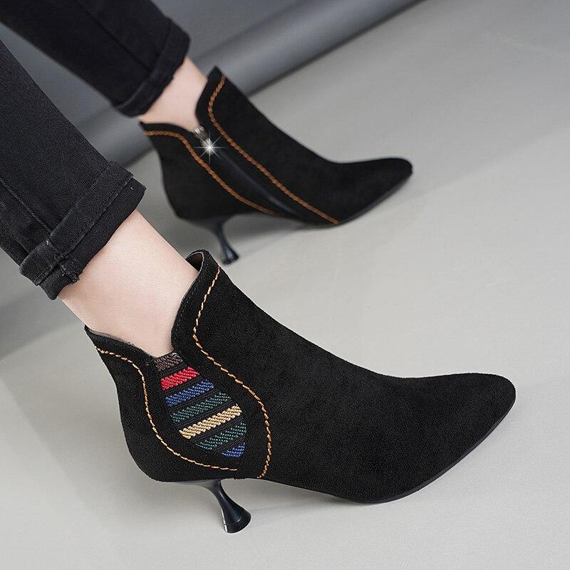 Altos Del Negro Para Fiesta De Pie Zapatos Dedo Primavera Otoño Cuero Mujer Tacones Moda Botas Lucyever Puntiagudo 2019 Tobillo Sexy Hq7ggO
