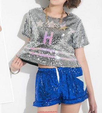 New Fashion Sequins T-shirt Hip Hop Dance Tee Shirts Women Girls Tops For Stage Disco/Jazz Dance Club Party Cheerlead Sequined S