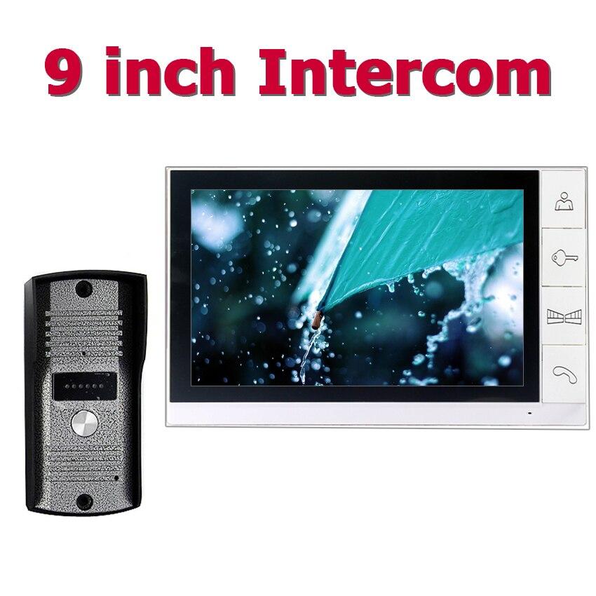 9inch Wired Video Door Phone Video Intercom System With Waterproof Outdoor IR Camera  Speakerphone Video Doorphone