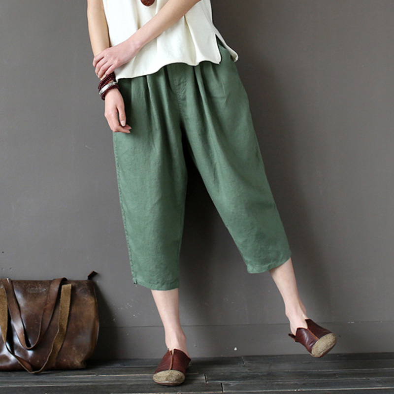 SCUWLINEN 2019 New Summer Women Pants Solid Loose Casual Elastic Waist Harem Capris Pants Female Multicolor