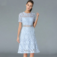 Women 2018 Summer Lace Party Dress Vestidos High End Ladies O Neck Sexy Hollow Out Short