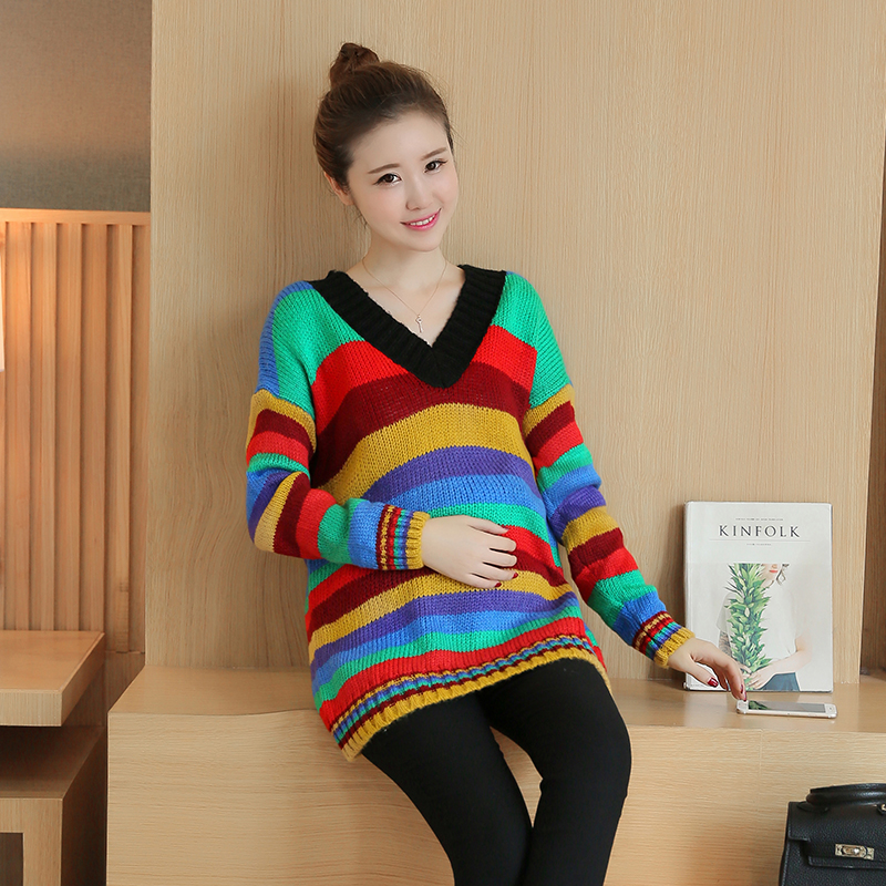 New 2017 rainbow sweater to increase the size of women sets of spring and autumn pregnant women autumn color stripes loose long