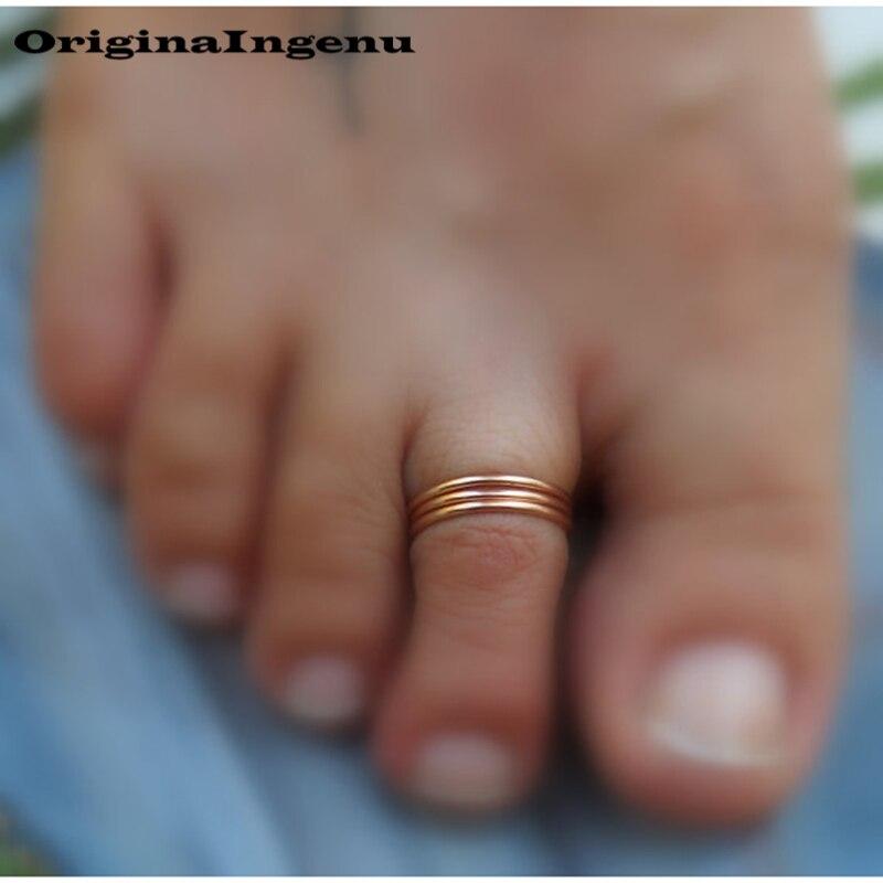 Grillz Jewelry izable Handmade Adjustable Exquisite Chevron Toe Ring 15mm Hoop Rings for Women Foot Jewelry-4
