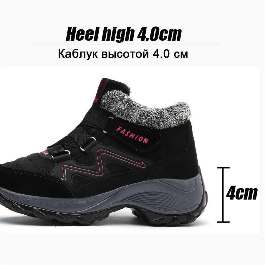 9574a846ea1 2019 Winter Women Snow Boots Platform Leather Suede Shoes Warm Push Fur  Rubber Ankle Boots Chaussure Femme Boots Woman 6137