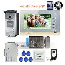 FREE SHIPPING New 7″ Screen Recording Video Intercom Door Phone System + Outdoor RFID Access Door Camera + Electric Lock + 8G SD