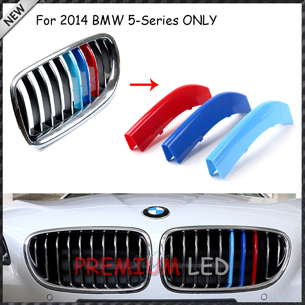 Pieces Exact Fit M Colored Grille Insert Trims For BMW F F - Bmw m colored kidney grille stripe decals