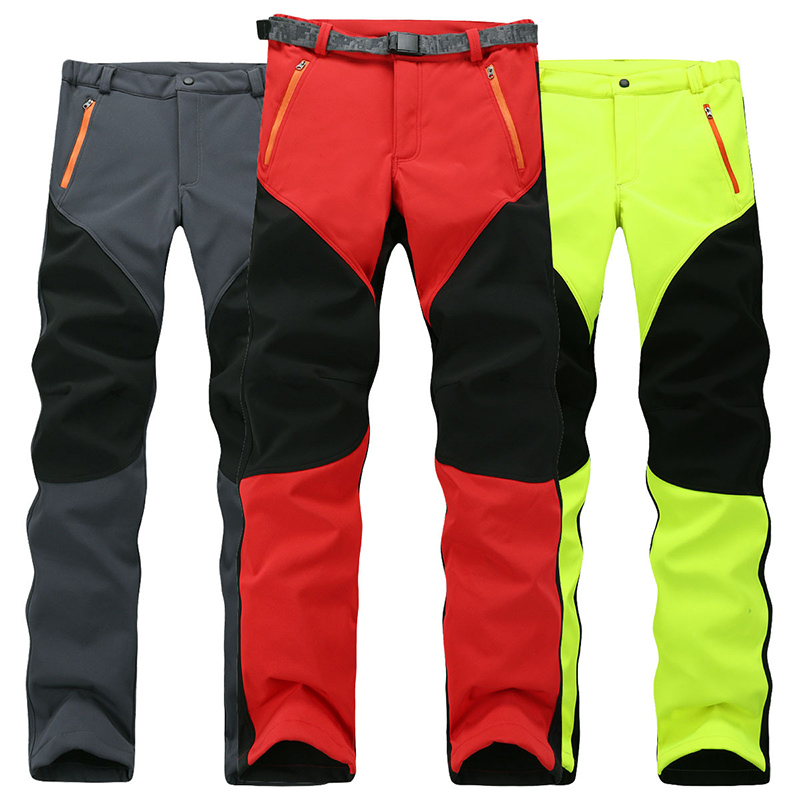 Winter Outdoors Hiking Pants Men&Women Soft shell Fleece Warm Climbing Camping Waterproof Pants Snowboarding Quick-drying Pants